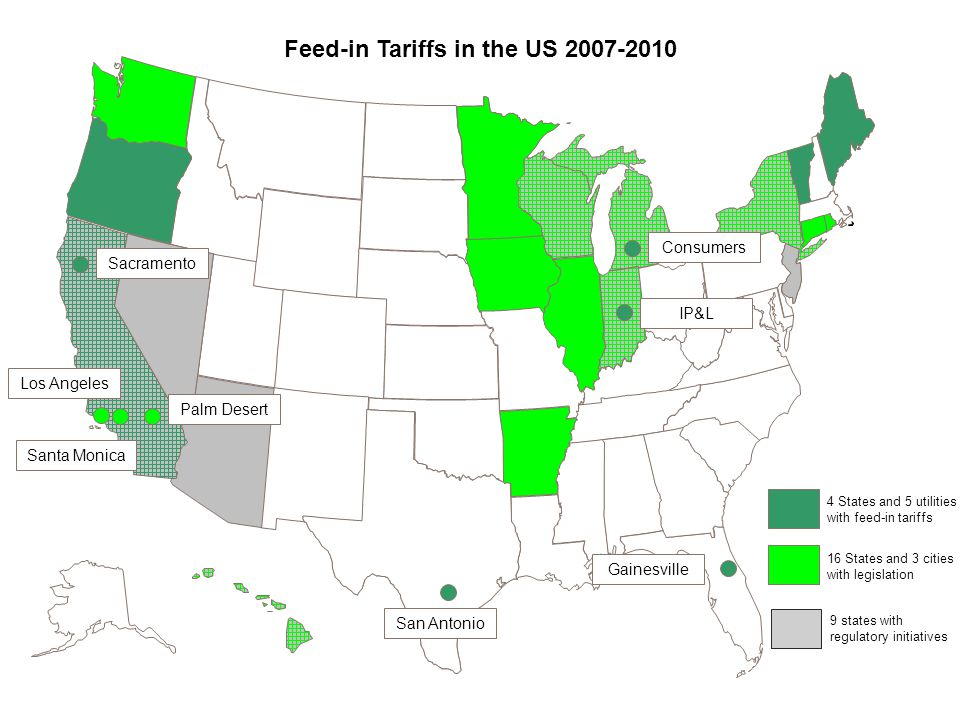 Feed-in Tariffs in the US 2007-2010 16 States and 3 cities with legislation 9 states with regulatory initiatives Sacramento Los Angeles Gainesville San Antonio 4 States and 5 utilities with feed-in tariffs Santa Monica Palm Desert IP&L Consumers