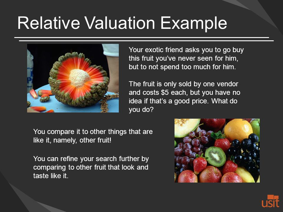 Relative Valuation Example Your exotic friend asks you to go buy this fruit youve never seen for him, but to not spend too much for him.