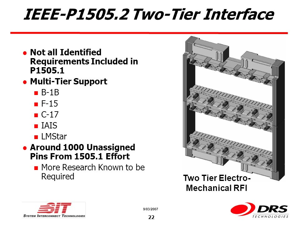 a a 9/03/ IEEE-P Two-Tier Interface Not all Identified Requirements Included in P Multi-Tier Support B-1B F-15 C-17 IAIS LMStar Around 1000 Unassigned Pins From Effort More Research Known to be Required Two Tier Electro- Mechanical RFI