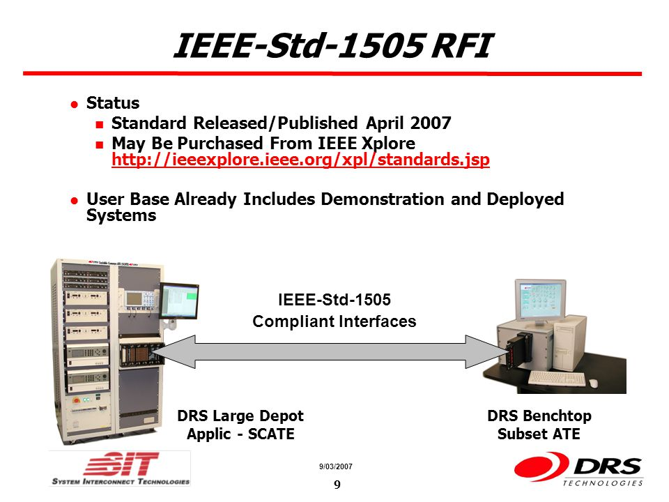 a a 9/03/2007 9 IEEE-Std-1505 RFI Status Standard Released/Published April 2007 May Be Purchased From IEEE Xplore http://ieeexplore.ieee.org/xpl/stand