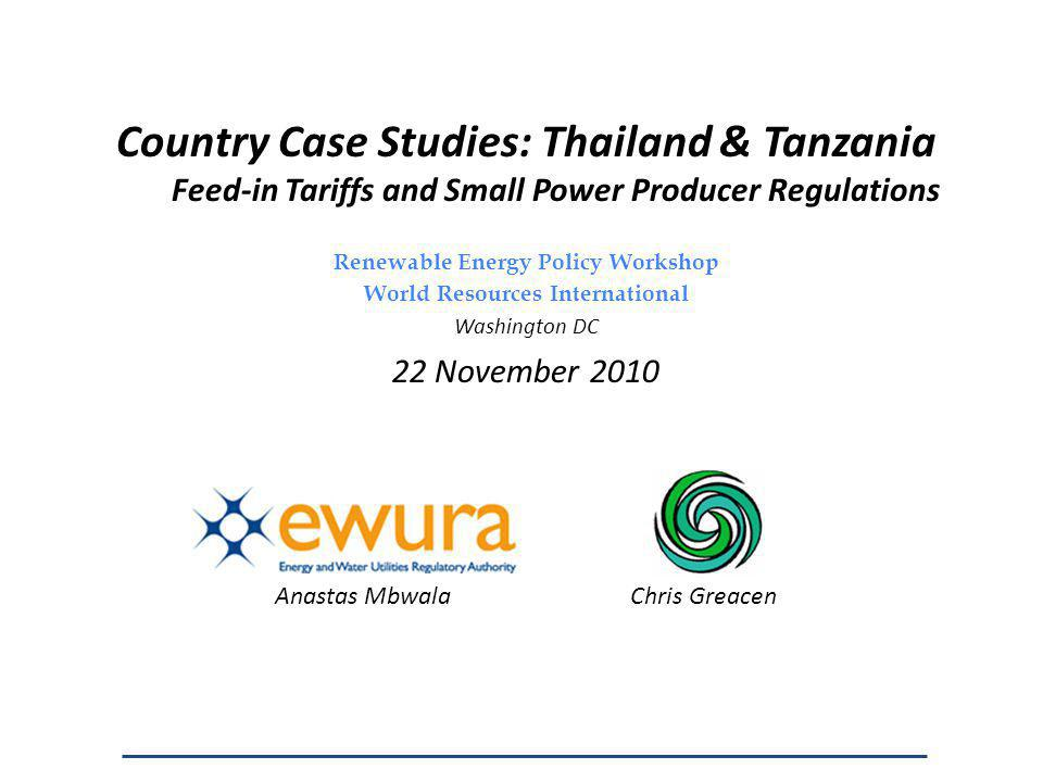 Tariff Cases 3 (isolated) and 4 (main grid): selling at retail to end use customers Tariff is proposed by SPP generator, subject to EWURA review – Less oversight demanded in cases in which community is in agreement with proposed tariff – Where possible, EWURA draws on financial analysis submitted to REA for rural electrification subsidy 42