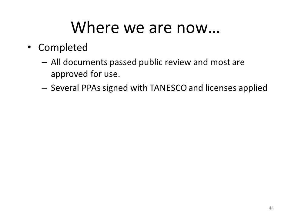 Where we are now… Completed – All documents passed public review and most are approved for use.