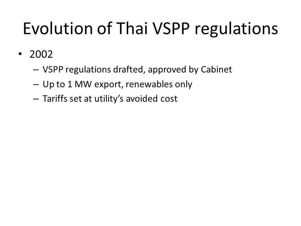 Evolution of Thai VSPP regulations 2002 – VSPP regulations drafted, approved by Cabinet – Up to 1 MW export, renewables only – Tariffs set at utilitys avoided cost