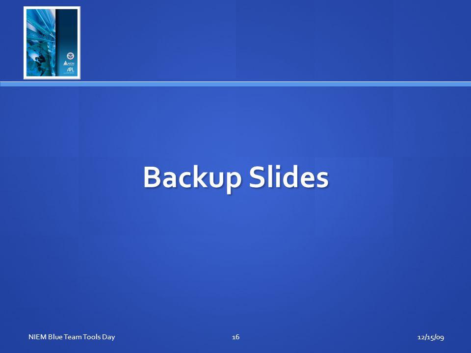 Backup Slides 12/15/0916NIEM Blue Team Tools Day