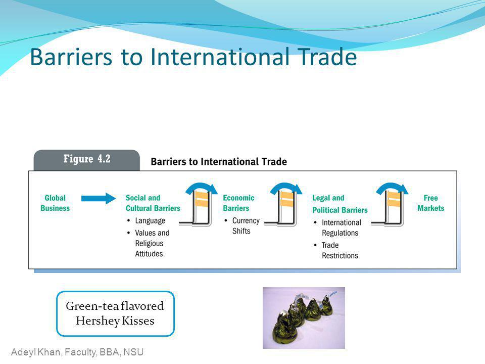 Adeyl Khan, Faculty, BBA, NSU Barriers to International Trade Green-tea flavored Hershey Kisses
