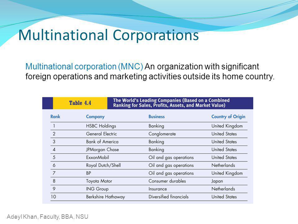 Adeyl Khan, Faculty, BBA, NSU Multinational corporation (MNC) An organization with significant foreign operations and marketing activities outside its