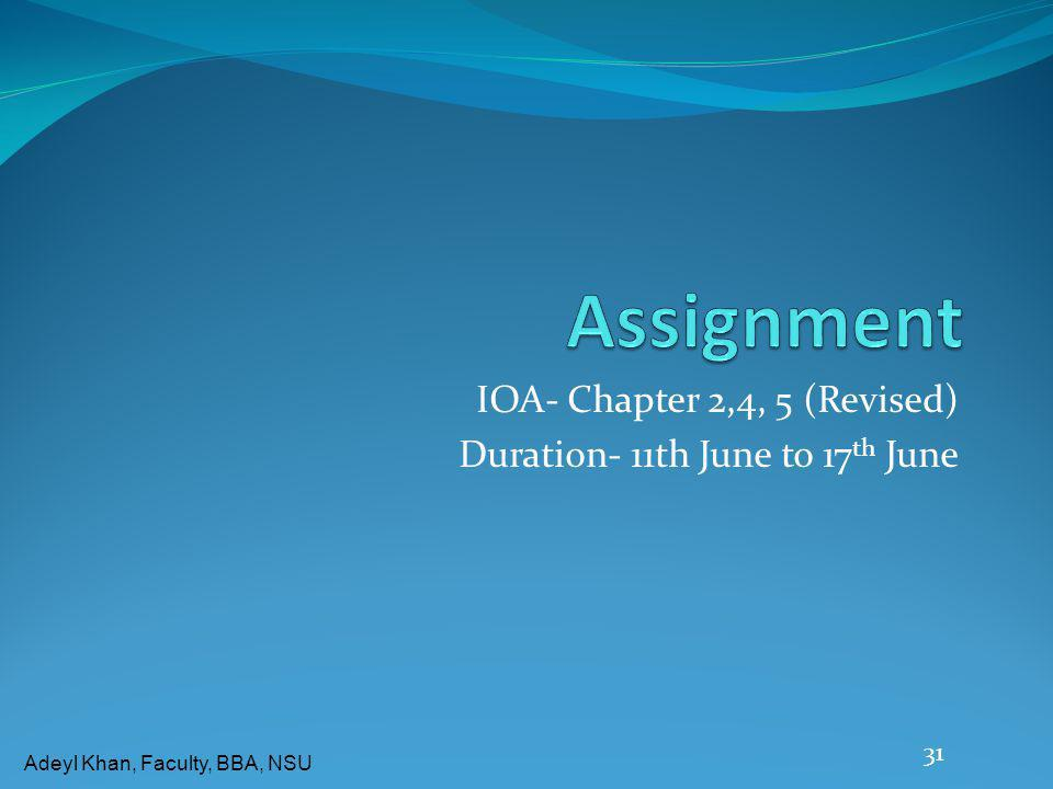 Adeyl Khan, Faculty, BBA, NSU IOA- Chapter 2,4, 5 (Revised) Duration- 11th June to 17 th June 31