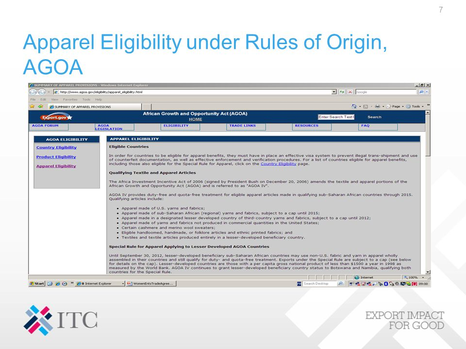 Apparel Eligibility under Rules of Origin, AGOA 7