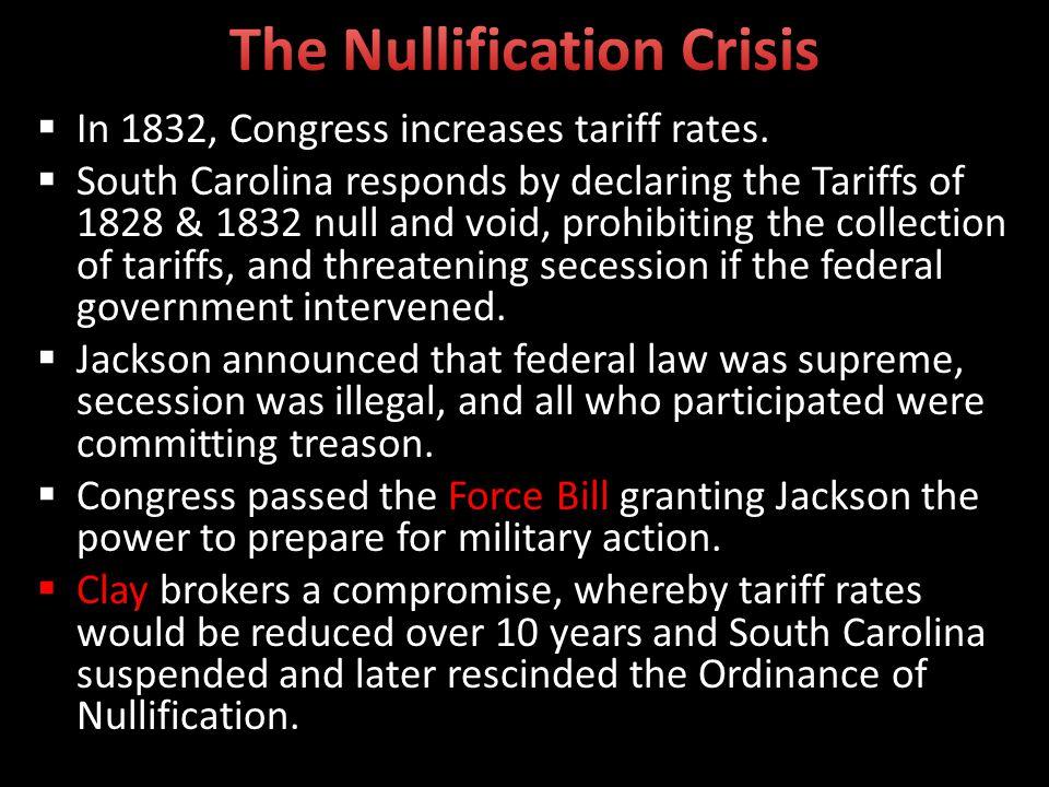 In 1832, Congress increases tariff rates.