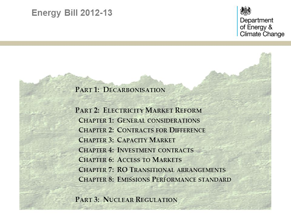 EMR: Access to markets power to improve electricity market liquidity if Ofgem proposals are inadequate or fail power to take action to improve the availability of Power Purchase Agreements, if necessary PPAs should be simpler with CFD scheme much talk of a Green Power Auction Market to provide PPAs and a reference price at the same time Part 2, Chapter 6, clauses 38 to 40 Energy Bill 2012-13