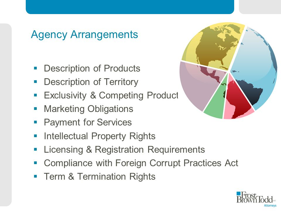 Agency Arrangements Description of Products Description of Territory Exclusivity & Competing Products Marketing Obligations Payment for Services Intellectual Property Rights Licensing & Registration Requirements Compliance with Foreign Corrupt Practices Act Term & Termination Rights