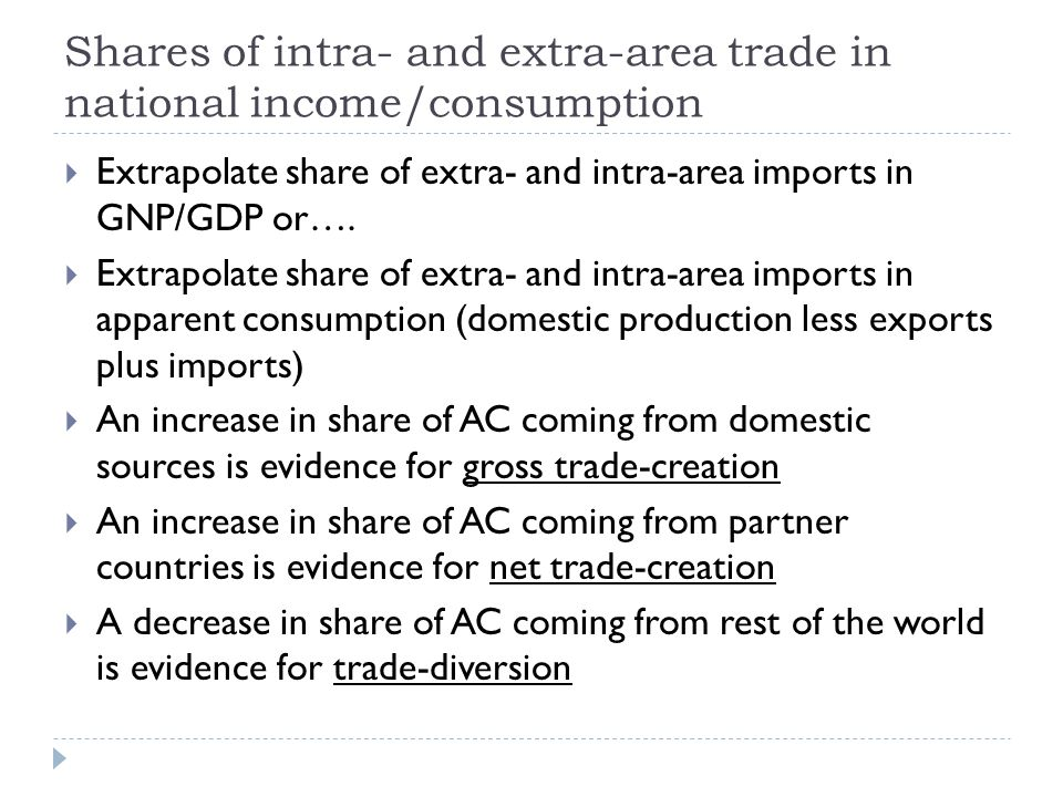 Shares of intra- and extra-area trade in national income/consumption Extrapolate share of extra- and intra-area imports in GNP/GDP or….