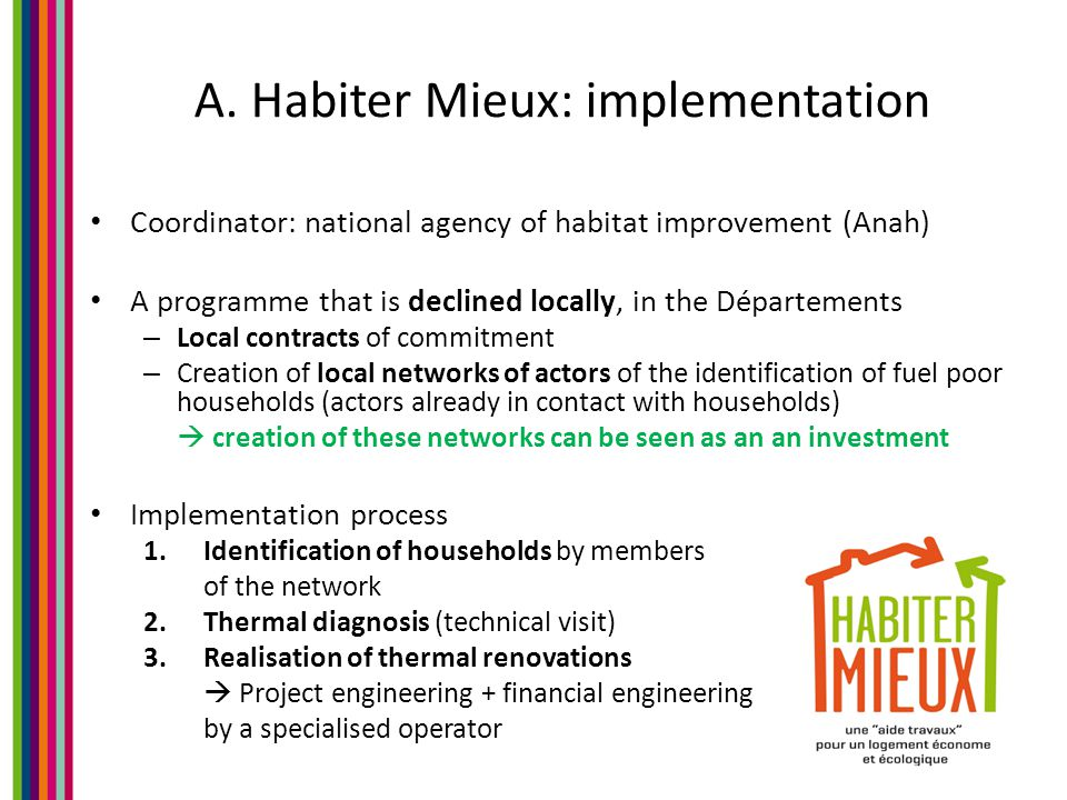 A. Habiter Mieux: implementation Coordinator: national agency of habitat improvement (Anah) A programme that is declined locally, in the Départements