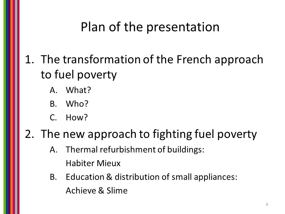 Plan of the presentation 1.The transformation of the French approach to fuel poverty A.What.