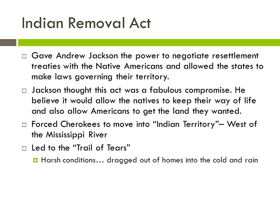Indian Removal Act Gave Andrew Jackson the power to negotiate resettlement treaties with the Native Americans and allowed the states to make laws gove