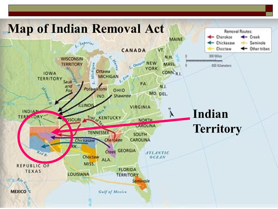 Map of Indian Removal Act Indian Territory