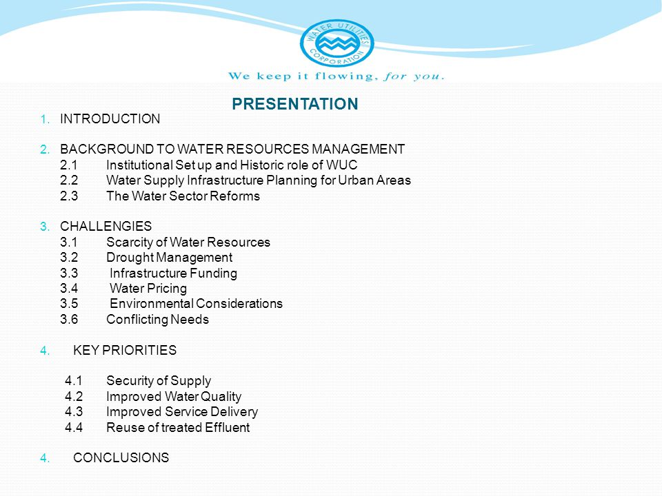 2.3Water Sector Reforms – cont…..