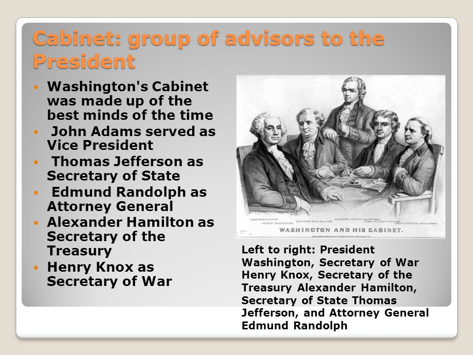 Cabinet: group of advisors to the President Washington s Cabinet was made up of the best minds of the time John Adams served as Vice President Thomas Jefferson as Secretary of State Edmund Randolph as Attorney General Alexander Hamilton as Secretary of the Treasury Henry Knox as Secretary of War Left to right: President Washington, Secretary of War Henry Knox, Secretary of the Treasury Alexander Hamilton, Secretary of State Thomas Jefferson, and Attorney General Edmund Randolph