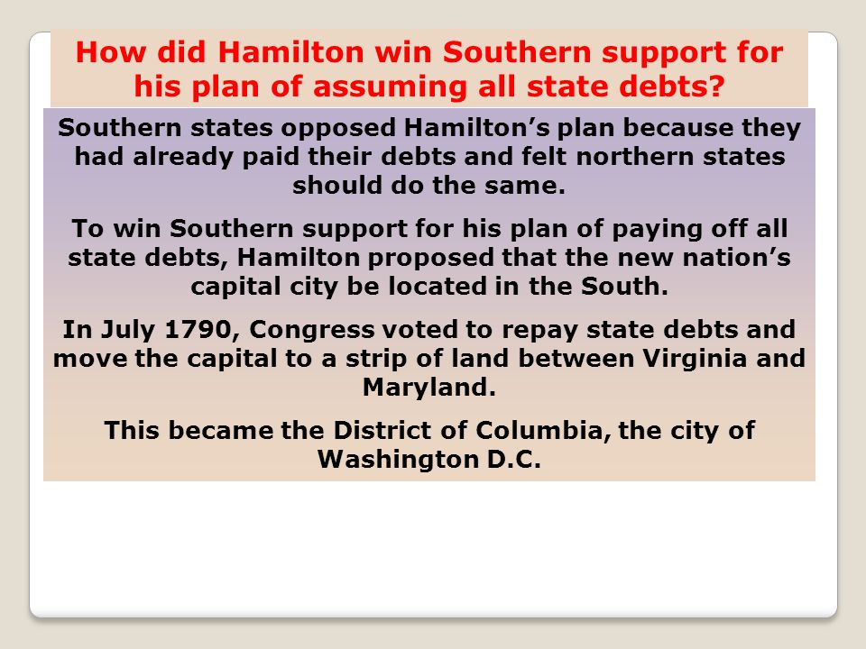 Southern states opposed Hamiltons plan because they had already paid their debts and felt northern states should do the same.