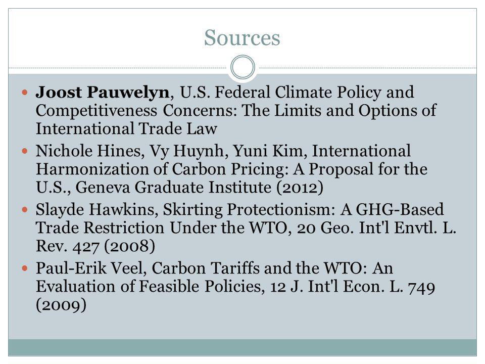 Sources Joost Pauwelyn, U.S.