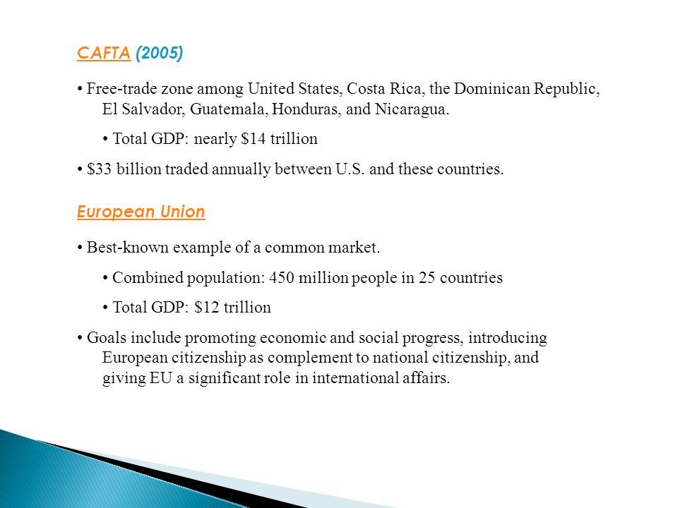 CAFTACAFTA (2005) Free-trade zone among United States, Costa Rica, the Dominican Republic, El Salvador, Guatemala, Honduras, and Nicaragua.