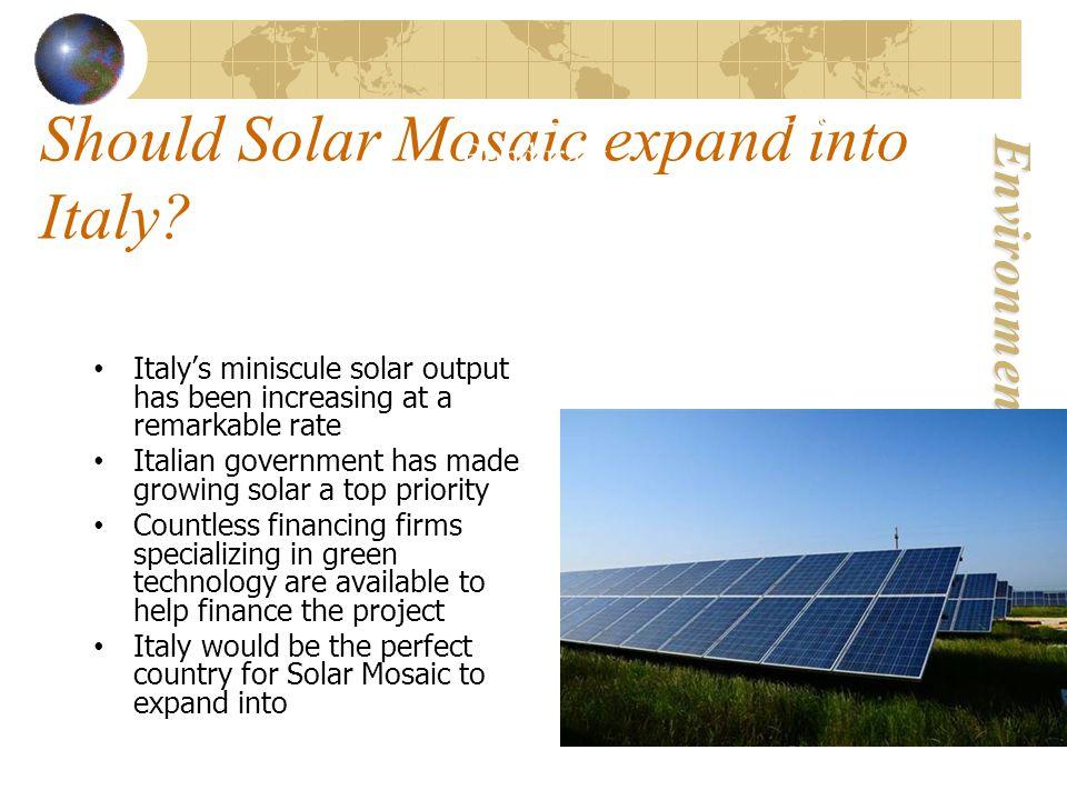 Environmental Economics Should Solar Mosaic expand into Italy.