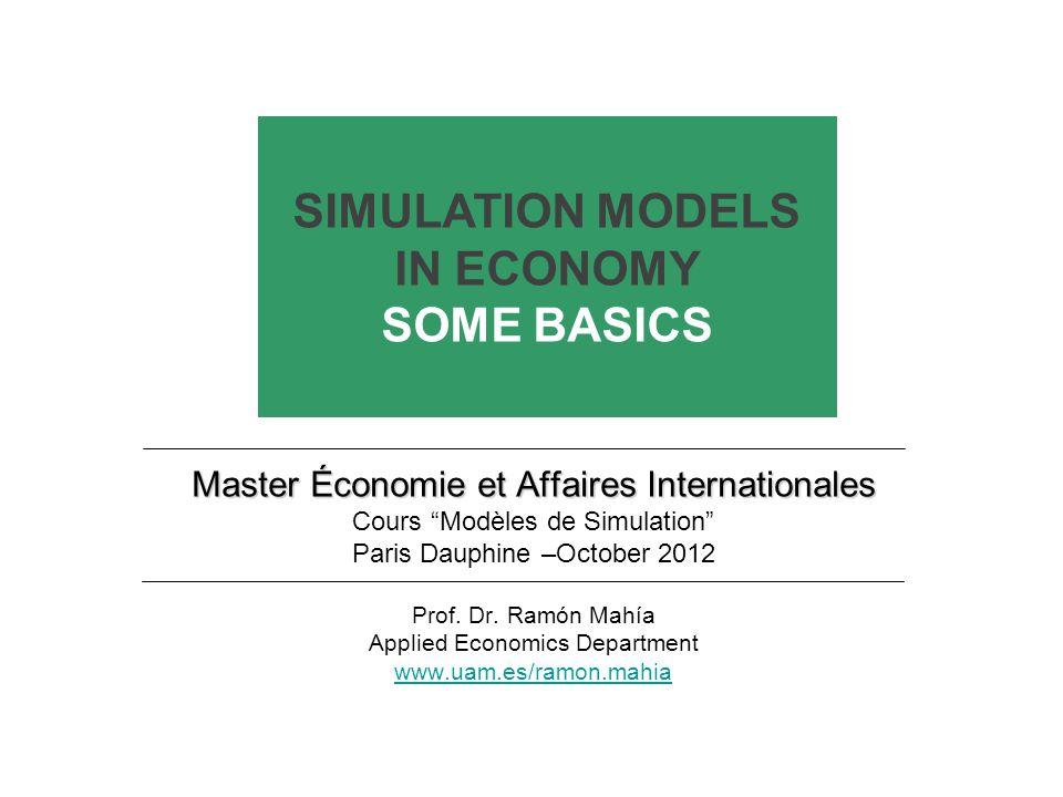 SIMULATION MODELS: SOME BASICS OUTLINE Part I: WHAT DOES SIMULATION MEAN.