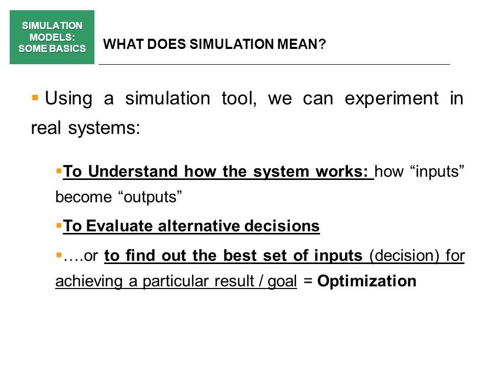 SIMULATION MODELS: SOME BASICS WHY DO WE NEED SIMULATION MODELS.