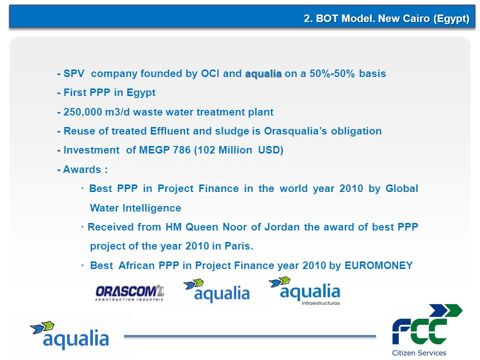 2. BOT Model. New Cairo (Egypt) aqualia - SPV company founded by OCI and aqualia on a 50%-50% basis - First PPP in Egypt - 250,000 m3/d waste water tr