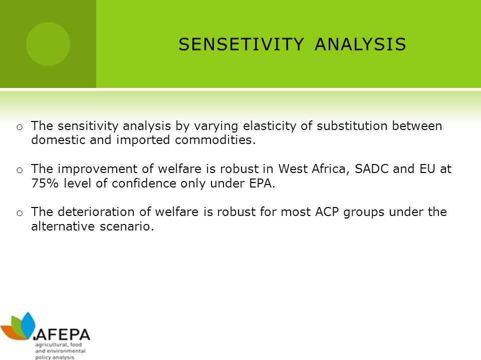 SENSETIVITY ANALYSIS o The sensitivity analysis by varying elasticity of substitution between domestic and imported commodities. o The improvement of
