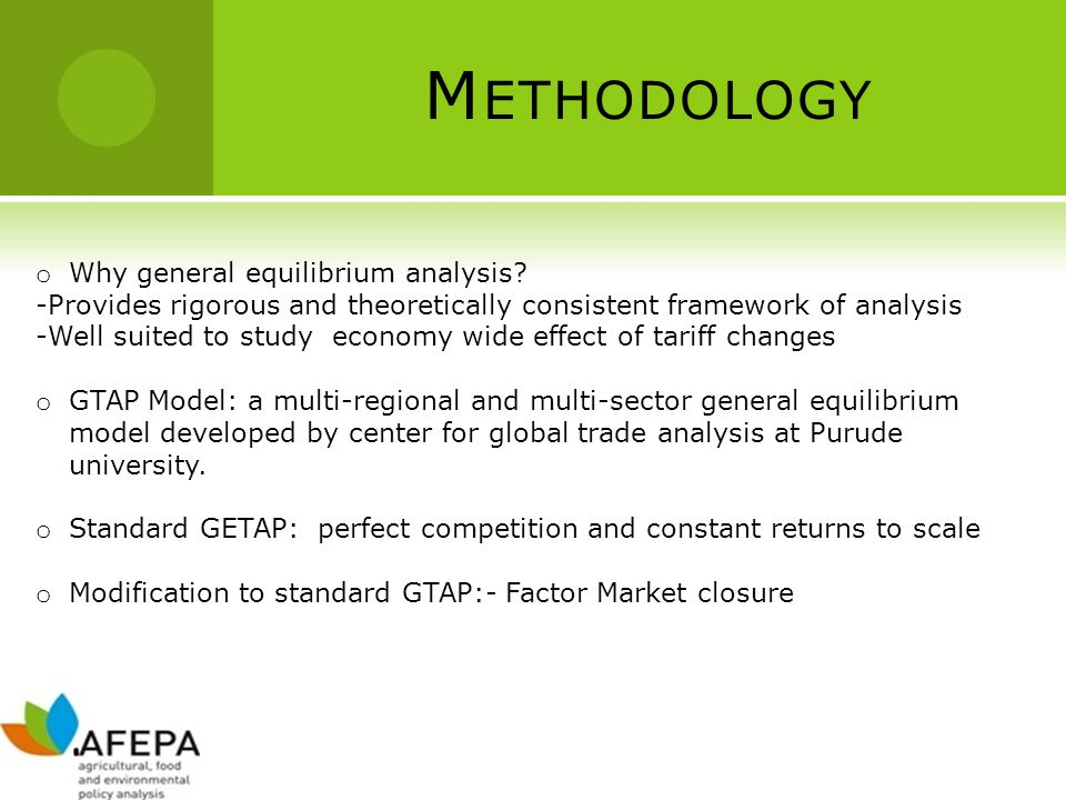 M ETHODOLOGY o Why general equilibrium analysis? -Provides rigorous and theoretically consistent framework of analysis -Well suited to study economy w