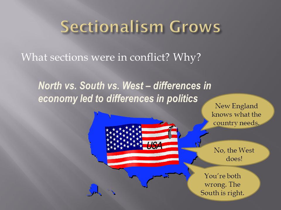 What sections were in conflict? Why? New England knows what the country needs. No, the West does! Youre both wrong. The South is right. North vs. Sout