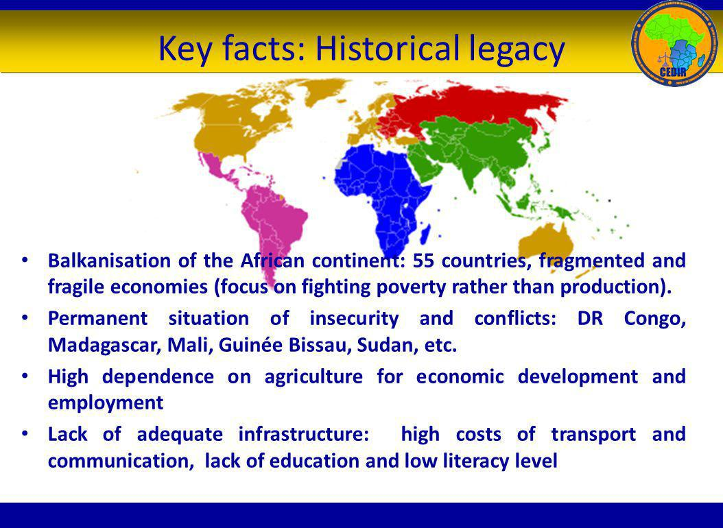 Key facts: Historical legacy Balkanisation of the African continent: 55 countries, fragmented and fragile economies (focus on fighting poverty rather