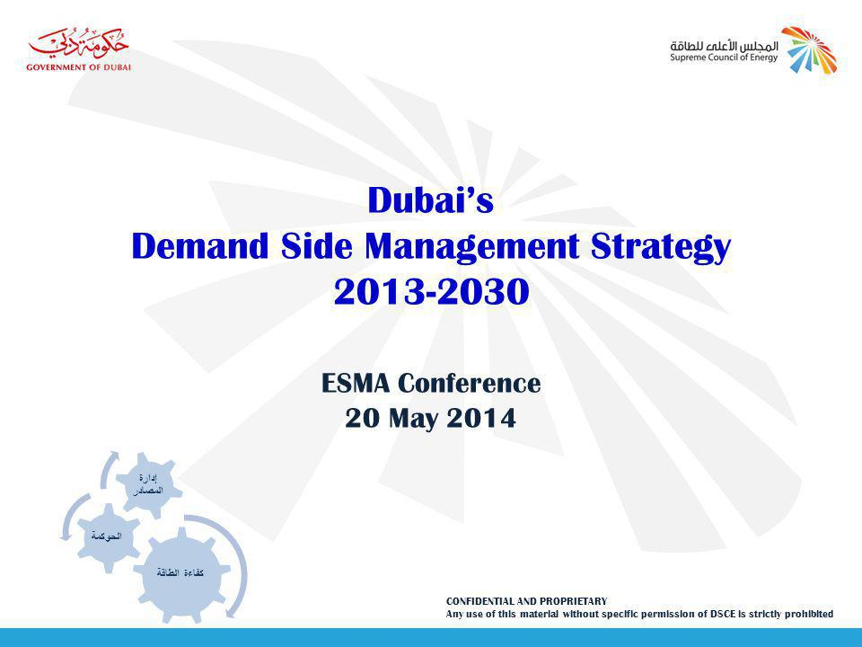 DSCE Demand Side Management 12 Demand Side Management will achieve emissions abatement of 10.7 Mns tons of CO2 in 2030 contributing to reducing Dubais CO2 footprint May 2014