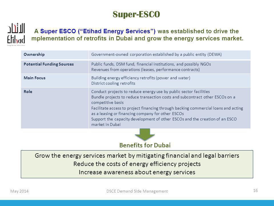 DSCE Demand Side Management 16 Super-ESCO A Super ESCO (Etihad Energy Services) was established to drive the implementation of retrofits in Dubai and