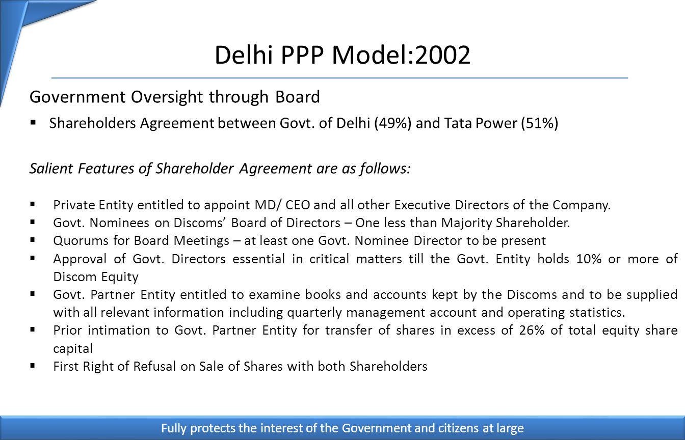 Delhi PPP Model:2002 13 Government Oversight through Board Shareholders Agreement between Govt.