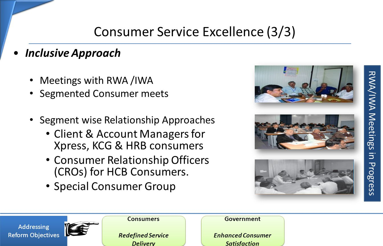 Consumer Service Excellence (3/3) Inclusive Approach Meetings with RWA /IWA Segmented Consumer meets Segment wise Relationship Approaches Client & Account Managers for Xpress, KCG & HRB consumers Consumer Relationship Officers (CROs) for HCB Consumers.