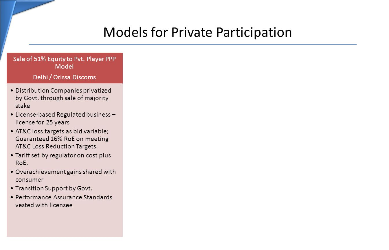 Models for Private Participation Sale of 51% Equity to Pvt.