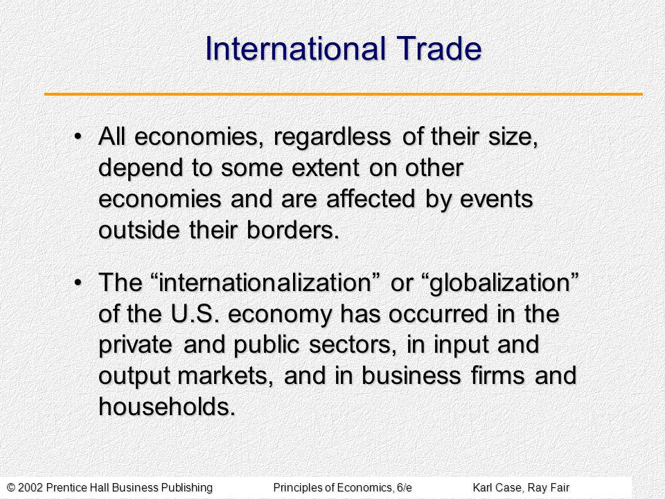 © 2002 Prentice Hall Business PublishingPrinciples of Economics, 6/eKarl Case, Ray Fair International Trade All economies, regardless of their size, depend to some extent on other economies and are affected by events outside their borders.All economies, regardless of their size, depend to some extent on other economies and are affected by events outside their borders.