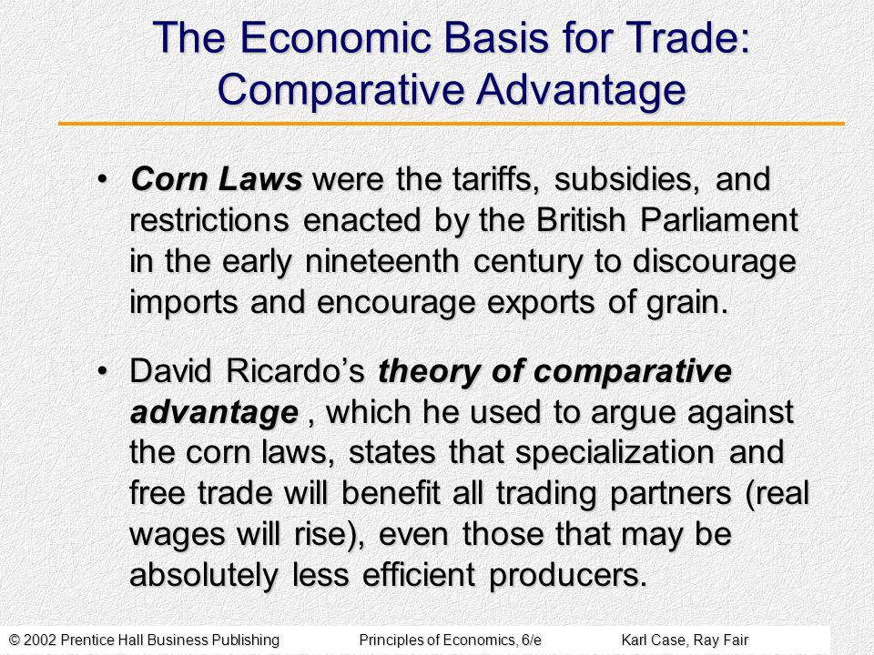 © 2002 Prentice Hall Business PublishingPrinciples of Economics, 6/eKarl Case, Ray Fair Absolute Advantage Versus Comparative Advantage A country enjoys an absolute advantage over another country in the production of a product if it uses fewer resources to produce that product than the other country does.A country enjoys an absolute advantage over another country in the production of a product if it uses fewer resources to produce that product than the other country does.
