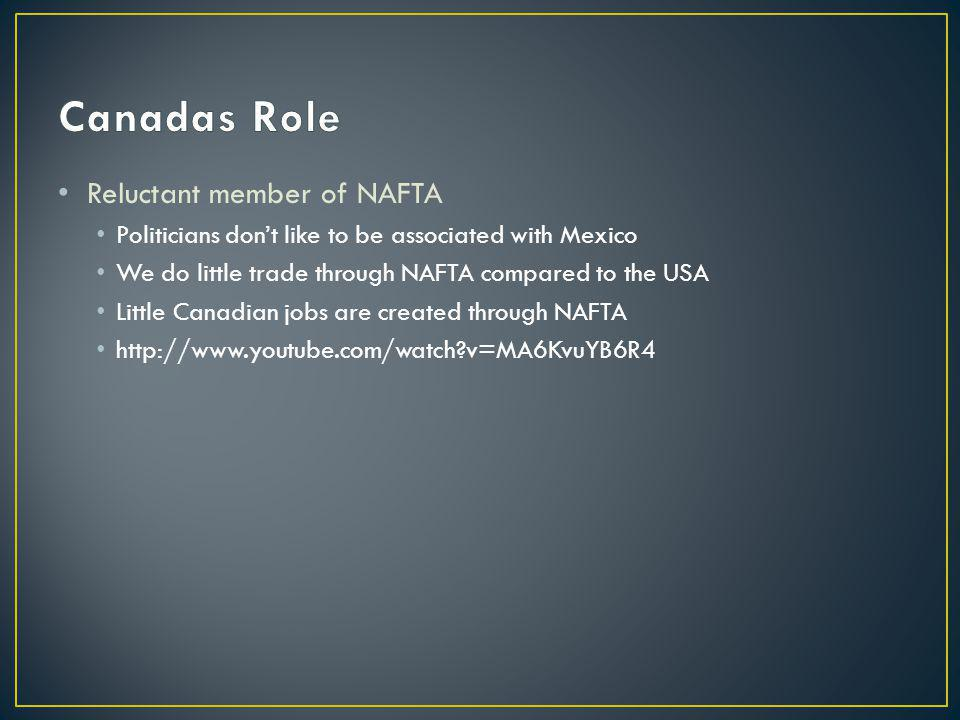Reluctant member of NAFTA Politicians dont like to be associated with Mexico We do little trade through NAFTA compared to the USA Little Canadian jobs are created through NAFTA http://www.youtube.com/watch?v=MA6KvuYB6R4