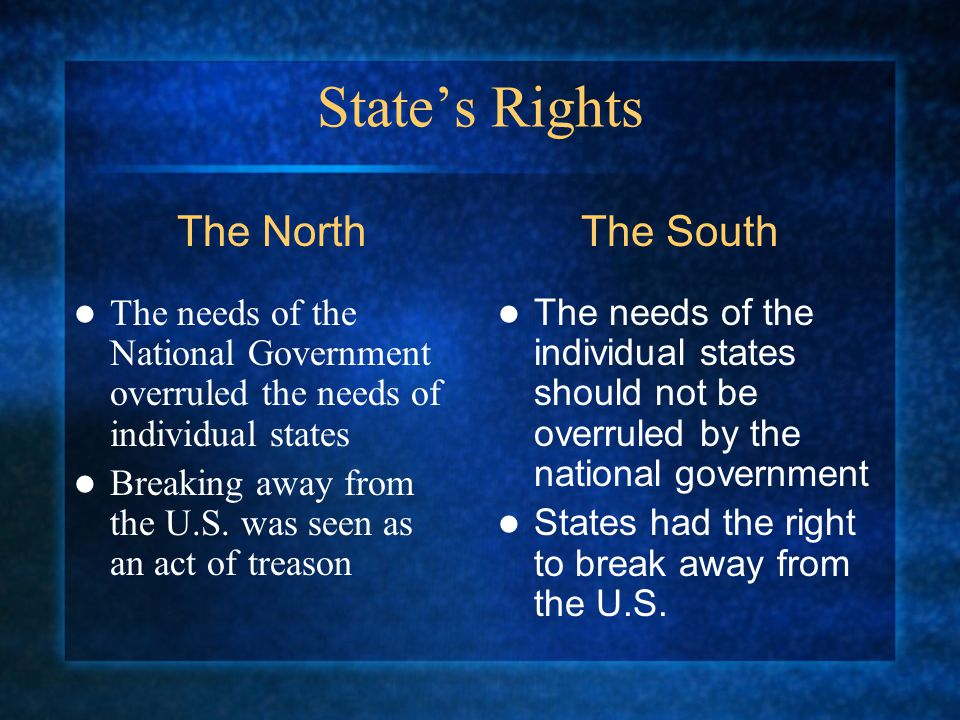 States Rights The needs of the National Government overruled the needs of individual states Breaking away from the U.S.