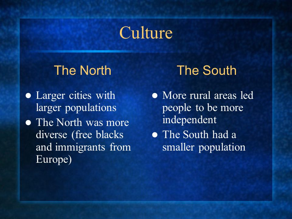 Culture Larger cities with larger populations The North was more diverse (free blacks and immigrants from Europe) More rural areas led people to be more independent The South had a smaller population The NorthThe South