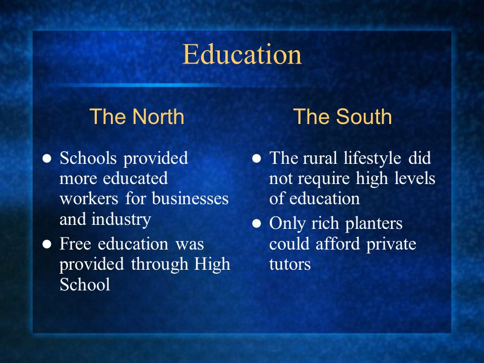 Education Schools provided more educated workers for businesses and industry Free education was provided through High School The rural lifestyle did not require high levels of education Only rich planters could afford private tutors The NorthThe South