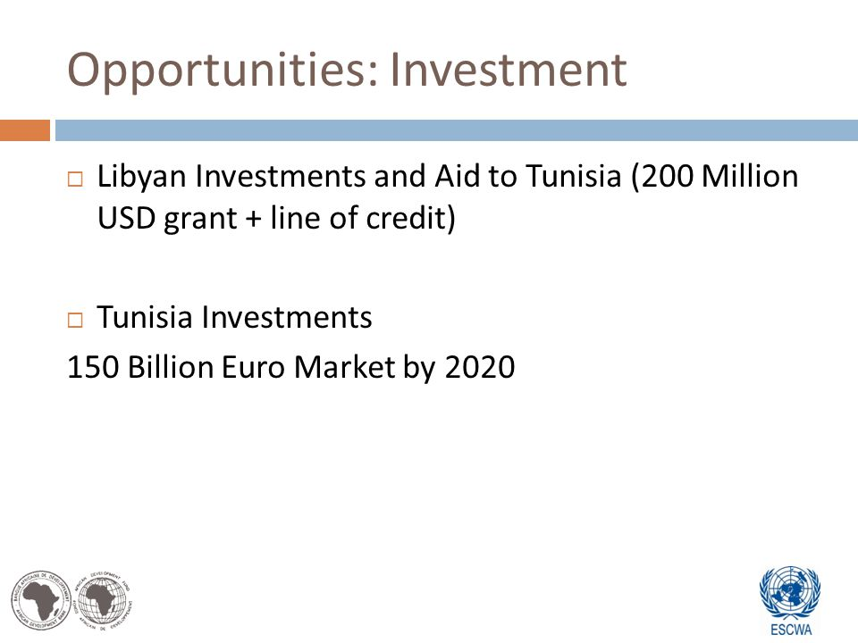 Opportunities: Investment Libyan Investments and Aid to Tunisia (200 Million USD grant + line of credit) Tunisia Investments 150 Billion Euro Market by 2020