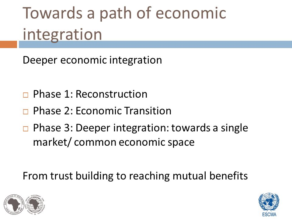 Towards a path of economic integration Deeper economic integration Phase 1: Reconstruction Phase 2: Economic Transition Phase 3: Deeper integration: towards a single market/ common economic space From trust building to reaching mutual benefits