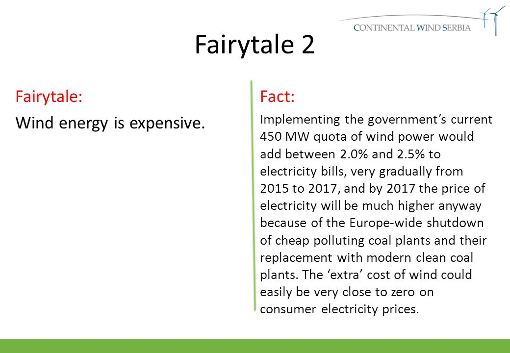 Fairytale 2 Fairytale: Wind energy is expensive.