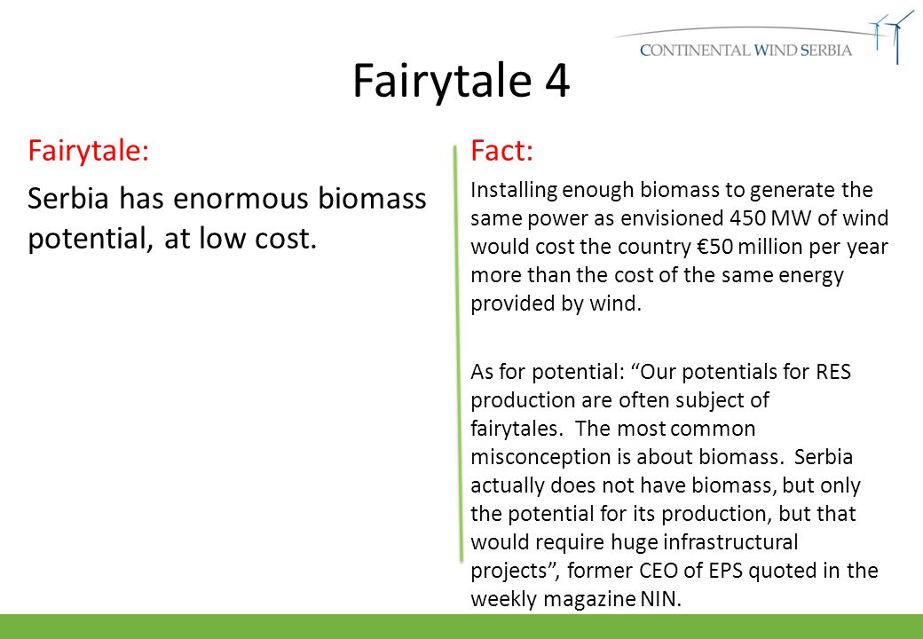 Fairytale 4 Fairytale: Serbia has enormous biomass potential, at low cost.