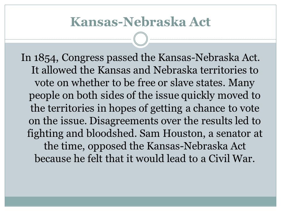 Kansas-Nebraska Act In 1854, Congress passed the Kansas-Nebraska Act. It allowed the Kansas and Nebraska territories to vote on whether to be free or