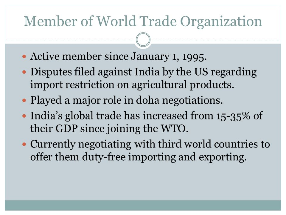 Member of World Trade Organization Active member since January 1, 1995.